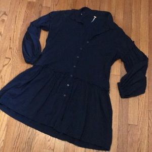 Free People Ruffle Button Down Navy Mini Dress